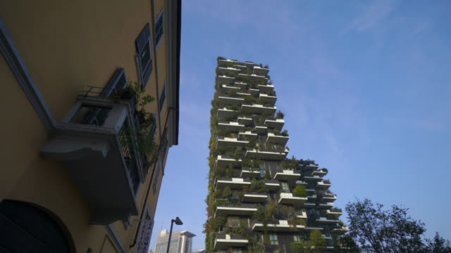 vertical garden bosco verticale in milan, italy - evolution stock videos & royalty-free footage
