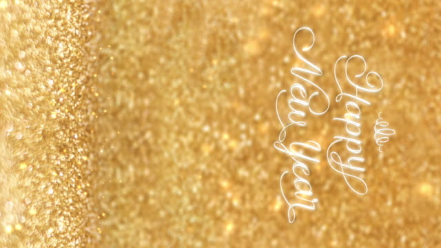 vertical happy new  year at sparkling golden and red copper glitter floor studio background ,holiday celebration greeting card - vertical stock videos & royalty-free footage
