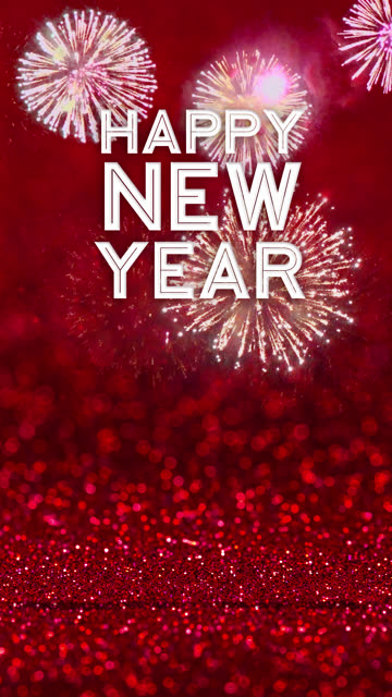 vertical happy new year year with firework at sparkling red glitter floor studio background ,holiday celebration greeting card.copy space for display product - vertical stock videos & royalty-free footage