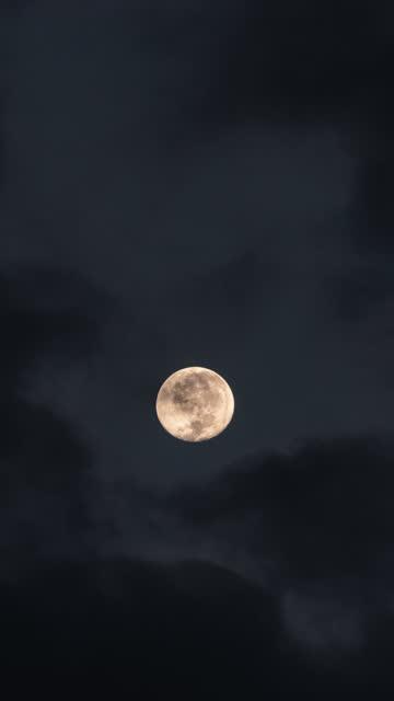 満月の垂直ホラー不気味な高速風タイムラプス - 暦月点の映像素材/bロール