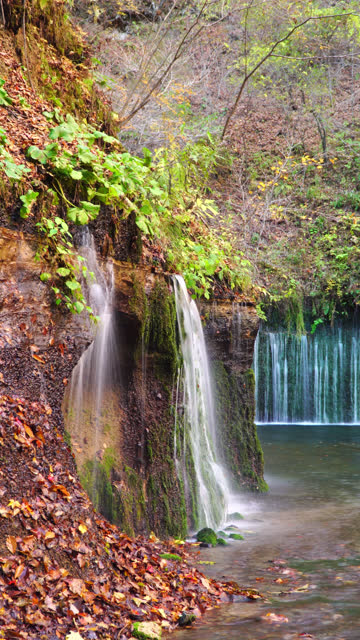 4k vertical: karuizawa shiraito waterfalls in nagano, japan. - satoyama scenery stock videos & royalty-free footage