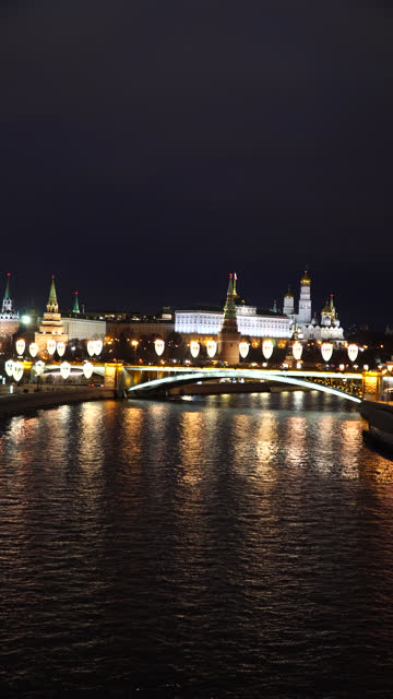vertical: kremlin by moscow river at night time - river moscva stock videos & royalty-free footage
