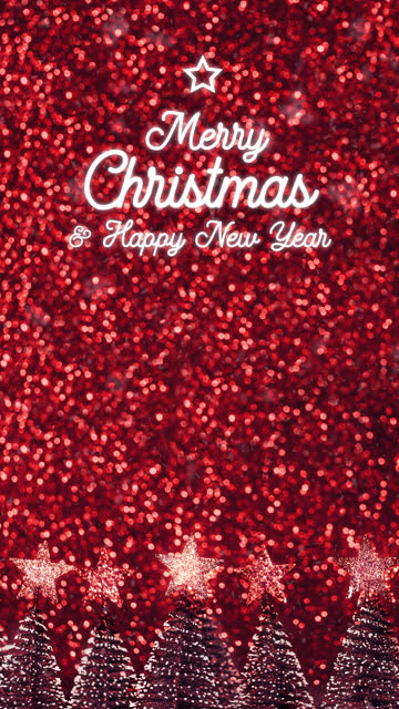 vertical merry christmas and happy new year greeting card over xmas tree on red glitter sparkling lights festive swirly bokeh background.holiday greeting card.closeup top of pine tree - new year card stock videos & royalty-free footage