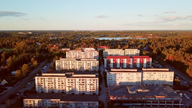 vertical panning of tall apartment buildings, helenelund, sollentuna, stockholm - apartment stock videos & royalty-free footage