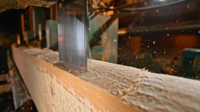 stockvideo's en b-roll-footage met slo mo verticale zag snijden een logboek - materiaal