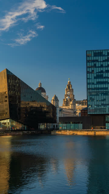 Vertical Time Lapse of Royal Liver Building, Pier Head from Dock, Liverpool, England, UK