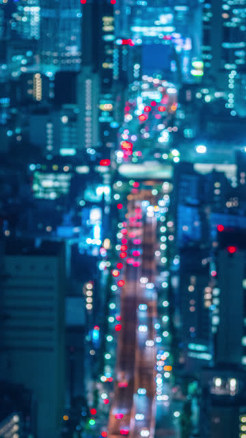 vertical tokyo traffic and cityscape time lapse in vertical taken from roppongi hills mori tower, japan - roppongi hills stock videos and b-roll footage
