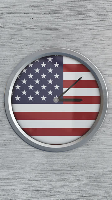 vertical usa clock time lapse - stars and stripes stock videos & royalty-free footage
