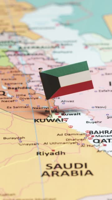vertical video of kuwait with national flag - basra stock videos & royalty-free footage