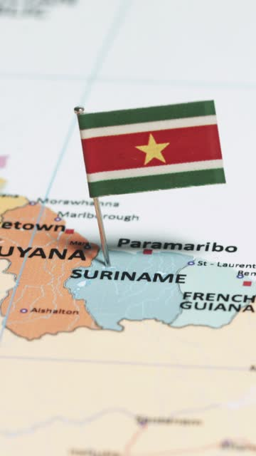 vertical video of suriname with national flag - french overseas territory stock videos & royalty-free footage