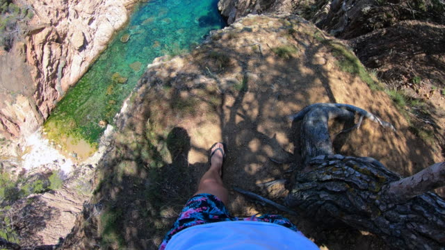 vertigo view of the costa brava shoreline during summer vacations. - at the edge of stock videos and b-roll footage