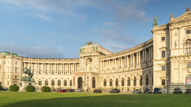 a very bright view of hofburg in vienna at dusk, - the hofburg complex stock videos & royalty-free footage