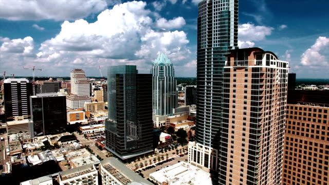very close aerial downtown austin texas tall skyscrapers high contrast nice summer day - high contrast stock videos & royalty-free footage