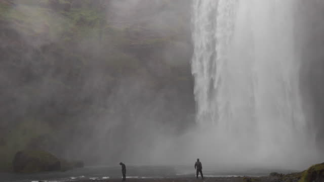 Very close-up of Skógafoss waterfall in Iceland in summertime.