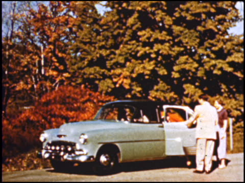 a very colorful introduction to chevrolet's line of cars for 1952 look for a lengthy shot of cars pulling into the shot and stopping as the camera... - chevrolet stock videos & royalty-free footage