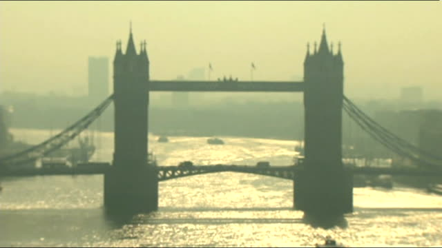 Very high air pollution levels across parts of the UK London Tower Bridge surrounded by smog