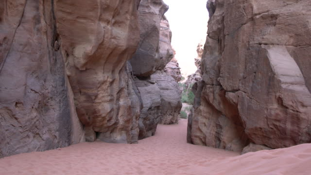 A very narrow canyon in Wadi Rum Desert, Jordan