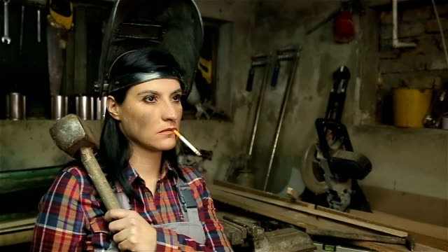 very, very strong woman - hammer stock videos and b-roll footage
