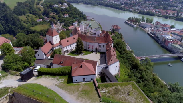 veste oberhaus above passau in lower bavaria - river danube video stock e b–roll