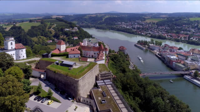 veste oberhaus above passau in lower bavaria - river danube stock videos & royalty-free footage