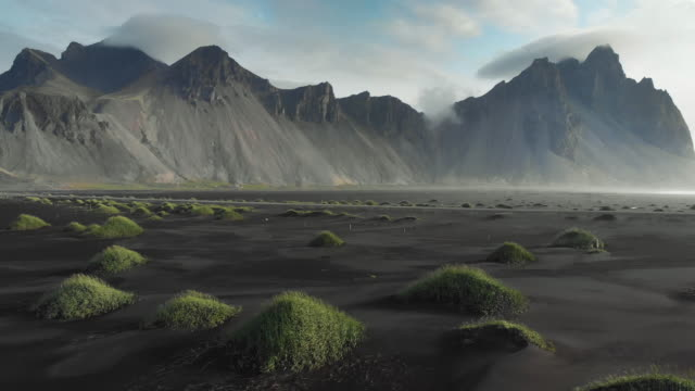 vestrahorn mountain and beach in iceland - iceland stock videos & royalty-free footage