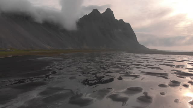 vestrahorn mountain and beach in iceland - black sand stock videos & royalty-free footage