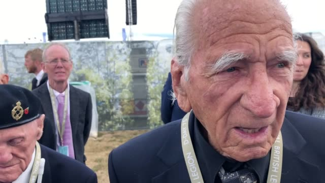 veteran interviews with les hammond followed by alfred fuzzard and john jenkins at a d-day memorial event on southsea common. world leaders, royalty... - war veteran stock videos & royalty-free footage