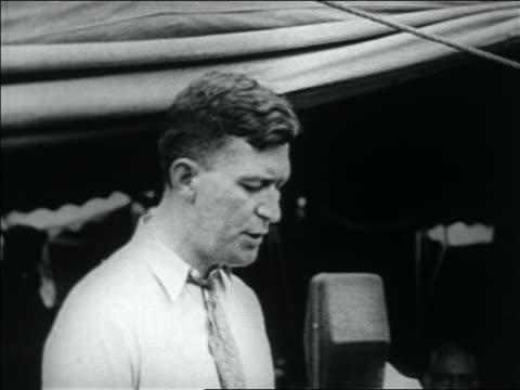 wwi veteran making speech into microphone at bonus march / washington dc - 1932 stock videos & royalty-free footage
