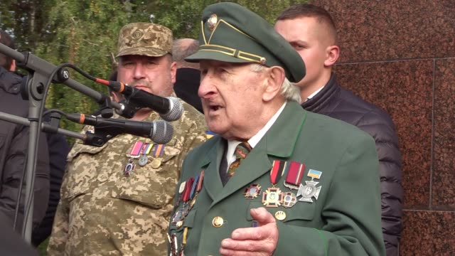 a veteran of the ukrainian insurgent army speaks during a rally held by allukrainian union svoboda partyduring mark the 74th anniversary of ukrainian... - union army stock videos and b-roll footage