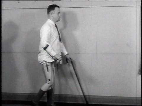 ws veteran who lost his legs learning to walk / usa - 1946 stock videos and b-roll footage