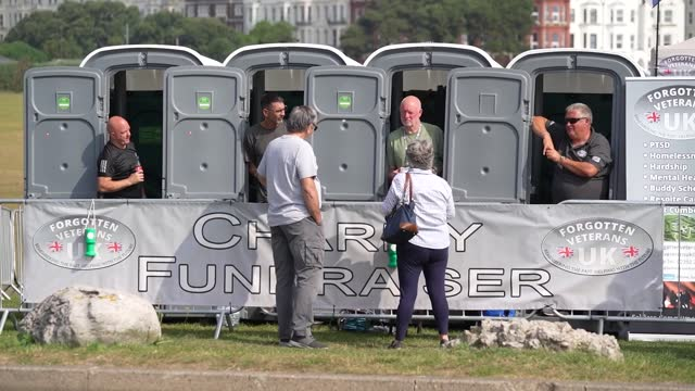 veterans ian baillie, mike hewlett, gary sprakes and chris nicholls, are spending 120 hours in portable toilet cabins on southsea common to raise... - portability stock videos & royalty-free footage