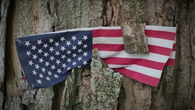 Veterans Memorial amerikanska flaggan zooma i 4k
