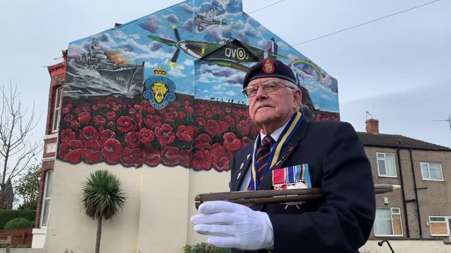 veterans observe a two minute silence in front of a commemorative war mural in redcar, north yorkshire, to remember the war dead on armistice day.... - armistice stock videos & royalty-free footage