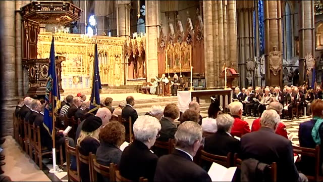 Veterans of Normandy Landings attend service to honour 65th anniversary Various of members of congregation as service in progress prayers and hymns...