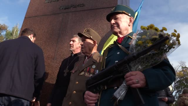 veterans of the ukrainian insurgent army attend a rally held by allukrainian union svoboda partyduring mark the 74th anniversary of ukrainian... - union army stock videos and b-roll footage