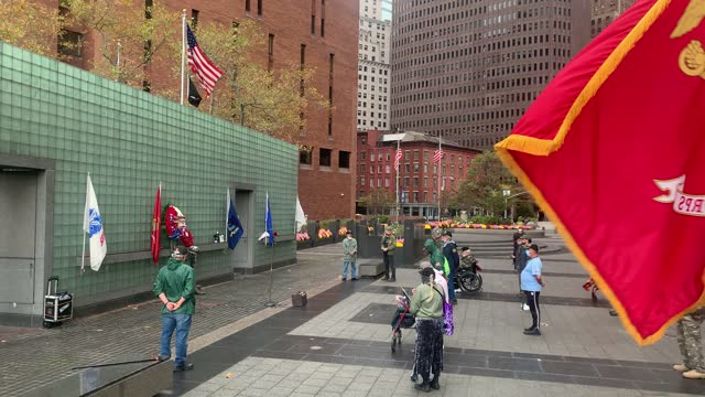 veterans of the vietnam war and others gather at the vietnam war memorial in manhattan on veterans day on november 11, 2020 in new york city. the... - veterans day stock videos & royalty-free footage