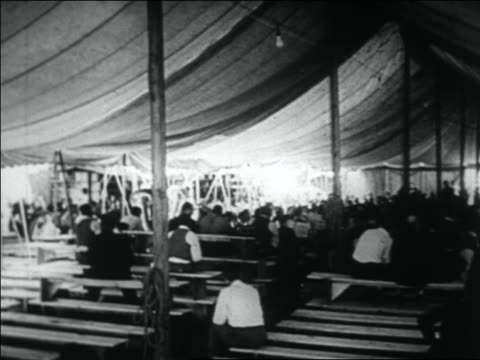 wwi veterans sitting on benches under tent / bonus march - 1932 stock videos & royalty-free footage