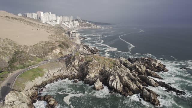viña del mar coastline and concon dunes - mar stock videos & royalty-free footage