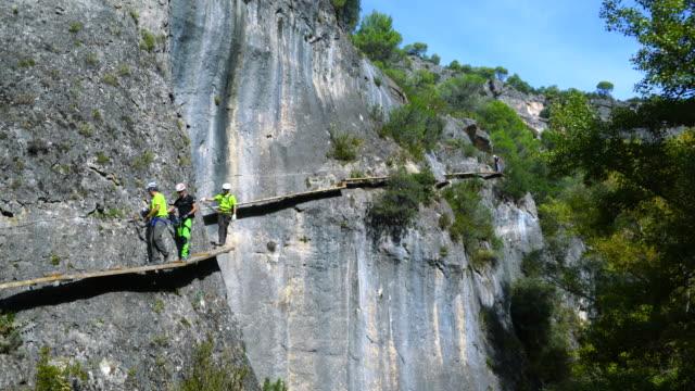 Via Ferrata, Climbing path, Hoz de Priego, Serrania de Cuenca, Cuenca, Castilla - La Mancha, Spain, Europe