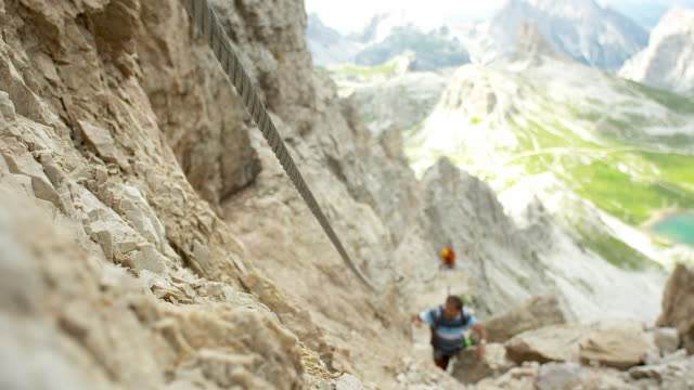 Via ferrata, steel rope, in the mountains