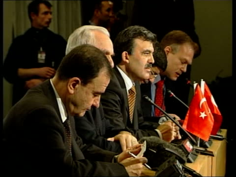 turkey pool via reuters turkish prime minister abdullah gul shaking with german chancellor gerhard schroeder french president jacques chirac press... - reuters stock videos & royalty-free footage