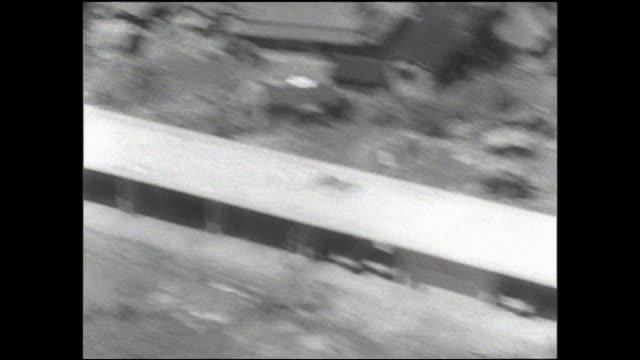vídeos de stock e filmes b-roll de a viaduct and a pier line  the construction site of the tokaido shinkansen. - formato letterbox