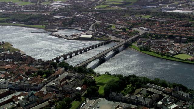 viaduct at berwick upon tweed  - aerial view - england, northumberland, united kingdom - northumberland stock videos & royalty-free footage