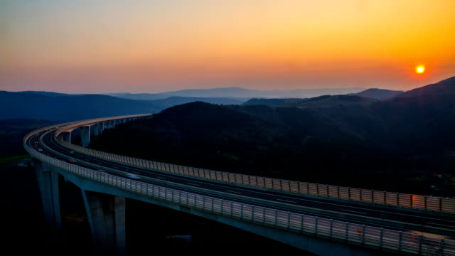 HD TIME-LAPSE: Viaduct At Sunset