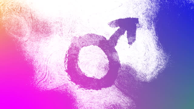 vibrant gradient mars, male, gender symbol on a high contrasted grungy and dirty, animated, distressed and smudged 4k video background with swirls and frame by frame motion feel with street style for the concepts of gender equality, women-social issues - gender symbol stock videos and b-roll footage