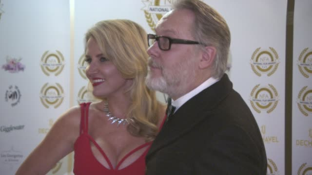vic reeves and nancy sorrell at the 4th annual national film awards at porchester hall on march 28, 2018 in london, england. - ポーチェスター点の映像素材/bロール