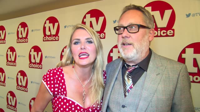 interview vic reeves nancy sorrell on coronation street and current projects at dorchester hotel on september 05 2016 in london england - コロネーションストリート点の映像素材/bロール