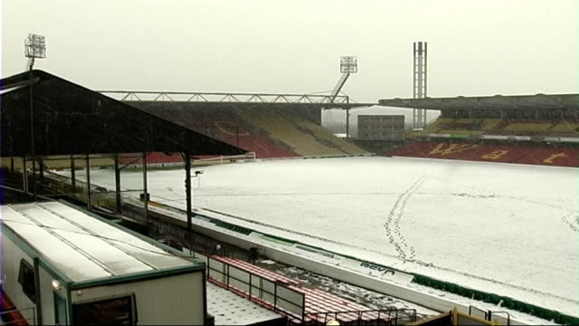 Vicarage Road stadium in the snow ENGLAND Watford Vicarage Road Stadium Various of empty Vicarage Road Stadium pitch covered with snow Various of...