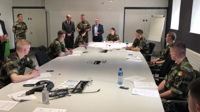 vice admiral mark mellett chief of staff of ireland's defence forces and paul reid ceo of health service executive with defence forces cadets who are... - touching stock videos & royalty-free footage