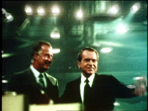 Vice President Agnew and President Nixon wave from a podium at the 1972 Republican National Convention